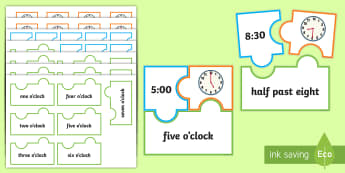 O'Clock and Half Past Times Jigsaw Puzzle Activity - Measurement, measures, telling the time, o'clock times, to the hour, o'clock, clock.