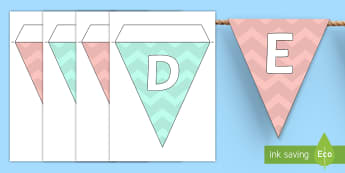 Pastel ZigZag Alphabet Display Bunting  - display, numbers, bounting, alphabet, display lettering, bunting