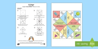 KS2 3D Shapes Fortune Teller English/Romanian - Fortune Tellers, maths, chatterbox, edge, vertex, vertices, face, faces, 3D, 3D shapes, EAL