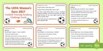 KS1 UEFA Women's Euro Football Training Academy Challenge Cards - football, skills, drills, games, pass, shoot, dribble