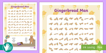 Gingerbread Man Fingerspelling Word Search - british sign language, bsl, deaf education, sign language practice, fingerspelling