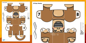 3D Paper Monkey Printable - 3d, printable, monkey, paper model, paper craft, paper, model, craft
