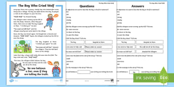 KS1 The Boy Who Cried Wolf Differentiated Comprehension Go Respond  Activity Sheets - Develop pleasure in reading, motivation to read, vocabulary and understanding, Understand what they