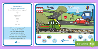 Transportation Can You Find...? Poster and Prompt Card Pack - transportation, vehicles, types of transportation, things that go, motion, can you find poster and p