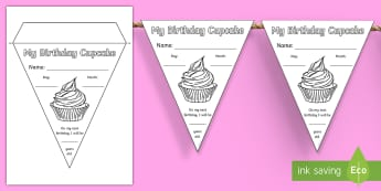 My Birthday Cupcake Display Bunting - class, display, start of year, new class, all about me, getting to know you, Irish, celebrations,