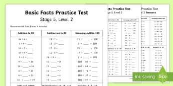 Number Knowledge Stage 5 Practice Test 1 - stage 5 maths, nZC, new Zealand maths, numeracy project, basic facts test, basic facts stage 5, numb