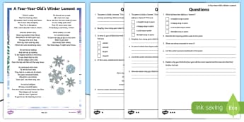 A Four-Year-Old's Winter Lament Poem Differentiated Activity Sheet - Christmas, Poem, Poetry, Simile, Holidays, Winter, Rhyme, snow