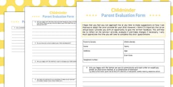 Parent Evaluation Form - parent, evaluation form, form, evaluate