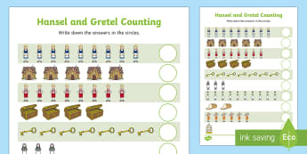 Hansel and Gretel Counting Sheet - counting, hansel, gretel,1:1 correspondance