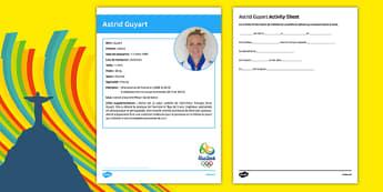 French Olympic Athletes Astrid Guyart Gap Fill Activity Sheet, worksheet