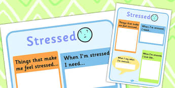 Stressed Writing Template - feelings, emotions, SEN, class management, chart