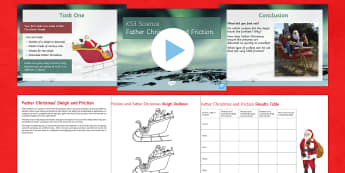 Friction and Father Christmas' sleigh Lesson Pack - KS3/4 Science Christmas Resources, sleighs, friction, surfaces