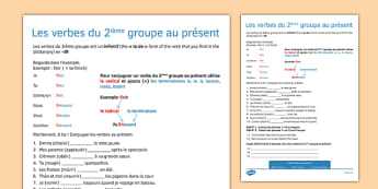 Les verbes du 2ième groupe au présent - present tense, ir, verbs, present, tense