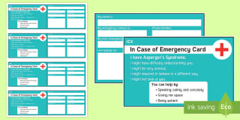 In Case of Emergency Asperger's Syndrome Information Cards - ICE, in case of emergency, out and about, independence, autism, Asperger's, ASD, wallet, card, eme