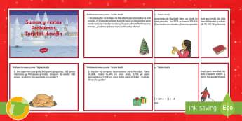 Tarjetas de desafío de matemáticas: Sumas y restas -  Navidad, matematicas, primaria, problemas, matematicos, recursos, profesores, alumnos, estudiantes,