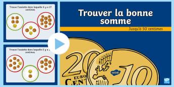 PowerPoint : Trouver la bonne somme - devise, monnaie, addition, calcul, cycle 2,French
