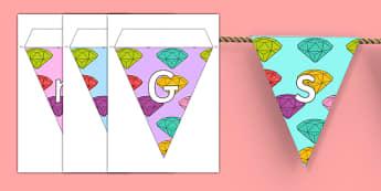 Little Gem Class Display Bunting - gem, stones, precious, class, labels, signs, name, eyfs, ks1, ks2