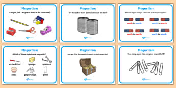 Magnetism Challenge Cards - Magnet, magnets, magnetic, non-magnetic, north, south, poles, forces, movement, science, knowledge and understanding of the world, worksheet