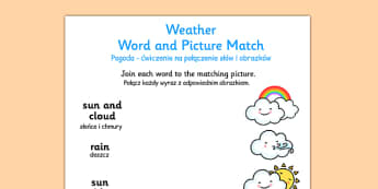 Weather Word and Picture Matching Worksheet Polish Translation - polish, weather, word, picture, match