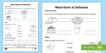 Feuille d'activités : La nourriture et les boissons - Alimentation, légumes, gâteau, vocabulaire, cycle 1,French