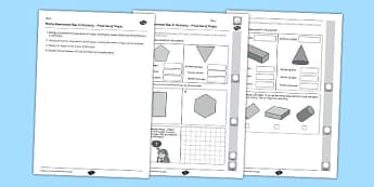Year 2 Maths Assessment: Geometry - Properties of Shapes Term 1 - shapes, year 2, maths, assessment, geometry, properties, term 1