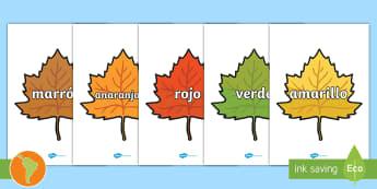 Pósters de exposición: Colores en hojas de otoño - Colores de otoño, amarillo, anaranjado, hojas de otoño marrón, otoñal, español, colores en espa