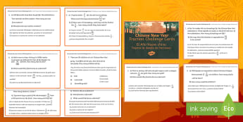 * NEW * LKS2 Chinese New Year Fraction Challenge Cards - English / Spanish - Chinese New Year, year 3, year 4, lower key stage 2, LKS2, challenge cards, maths challenge cards, f