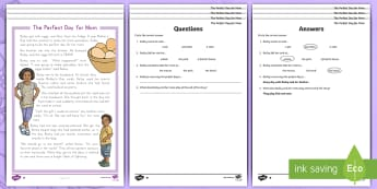 The Perfect Day for Mom Differentiated Reading Comprehension Activity - Mother's Day, mom, mum, mother, mothers day