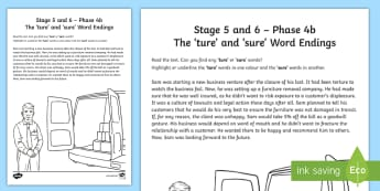 Northern Ireland Linguistic Phonics Stage 5 and 6, Phase 4b 'ture' and 'sure' Worksheet / Activity Sheet - NI, Linguistic Phonics, Stage 5, Stage 6, Phase 4b, Northern Ireland, 'ture', 'sure', word endi