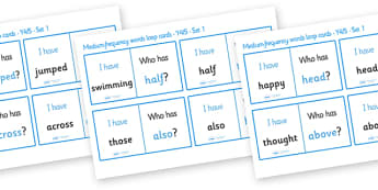 Medium Frequency Word Loop Cards Set 1 (Y4 & Y5) - medium frequency words, loop cards, set, set 1, frequency words, words, medium, Y4, Y5, year 4, year 5, five, four, year, loop cards, cards, flashcards, loop, image