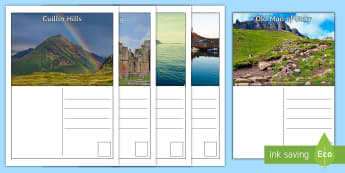 Scotland Postcards - Scotland, writing, tourism, tourist, scenery, landmarks, LIT, creating texts, writing prompt, images