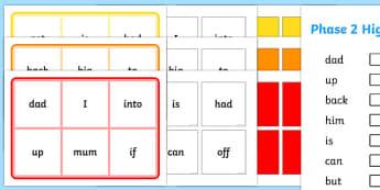 Phase 2 High Frequency Word Bingo - Word Bingo, Phase 2, Foundation bingo, High Frequency Words, HFW, Letters and Sounds, DfES Letters and Sounds, phase2