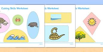 Australian Beach Habitat Cutting Skills Worksheet - australia, Science, Year 1, Habitats, Australian Curriculum, Beach, Living, Living Adventure, Environment, Living Things, Animals, Plants, Cutting Skills, Fine Motor