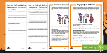 Staying Safe at Halloween Reading Comprehension Activity English/Spanish - safety,, KS2, y3, y4, y5, y6, reading, independent reading, group reading, comprehension, differenti