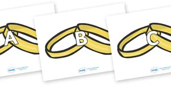 A-Z Alphabet on Wedding Rings - A-Z, A4, display, Alphabet frieze, Display letters, Letter posters, A-Z letters, Alphabet flashcards