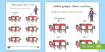 Mathemagier Zahlen zerlegen Arbeitsblatt - Mathe, Zahlen,zählen, Einer, Zehner, Zahl,,German