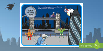 Phase 2 to 5 Tricky Words Superhero Magnifying Glass Activity Pack - phase 2, tricky words, magnifying glass, activity, superheros, scene, poster,trciky words,trickyword