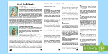 Greek Gods Story Texts - Request KS2, Greek Gods, Ancient Greece, stories, Zeus, Athena, Apollo, Hades, Poseidon, Hermes, Are