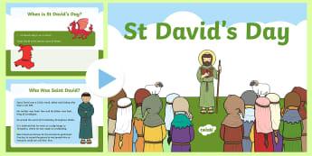 All about St Davids Day PowerPoint - st david, st davids day