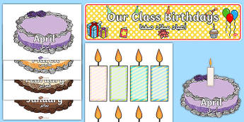Editable Birthday Display Set Cakes Arabic Translation - arabic, Birthday set, birthday display, banner, birthday, birthday poster, birthday display, months of the year, cake, balloons, happy birthday
