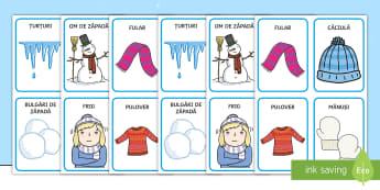 Imagini de iarnă Cartonașe pereche - iarna, haine, îmbrăcăminte, comunicare, cum ne îmbrăcăm, vocabular pe tema iernii, imagini de