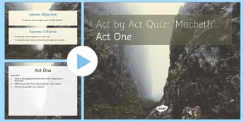 Macbeth Plot Revision Quiz Act I PowerPoint - Macbeth, quiz, act I, revision, revise, plot, questions, answers