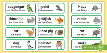 Pets Topic Word Cards English/German - animals, pets, vocab, EAL, German, English-German,,German-translation