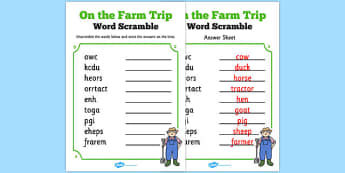 Farm Trip Word Unscramble - farm trip, word, unscramble, farm