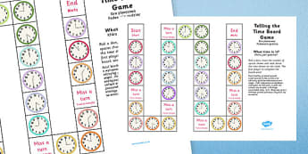 Telling the Time Board Game KS1 O'clock and Half Past Polish Translation - polish, telling the time, board game, ks1, o'clock, half past