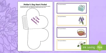 Mother's Day Heart Pocket - KS1 & KS2 Mother's Day UK (26.3.17), mothering sunday, mother's day, mother's day ks1, mother's