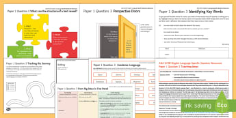 Writing about Structure: AQA English Language Paper 1 Q3 Resource Pack - AQA GCSE Specific Question Resources, structure, language, structural devices, perspective, narrator