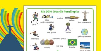 Jocurile Paralimpice Rio 2016 - Planșă cu imagini și cuvinte