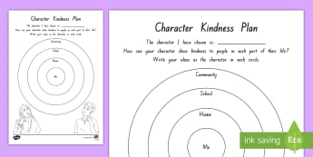 Character Kindness Plan Activity to Support Teaching On Wonder by R.J. Palacio - literacy, chapter chat, reading, wonder, rJ palacio, kindness