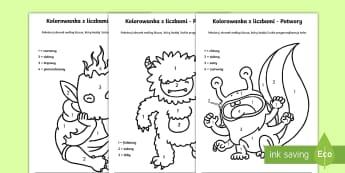 Kolorowanki z liczbami Potwory - potwór, potwory, spółka, kolorowanka, pokoloruj, kolory, matematyka, liczby, liczenie, policz, nu